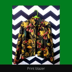 Botanical/fruit print silk blend blazer